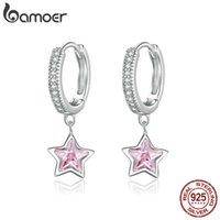 Bamoer 925 Jóias de prata esterlina jóias deslumbrantes estrelas cor-de-rosa CZ Brincos de garanhão de luz para as mulheres meninas Declaração de presente jóias BSE414 210323