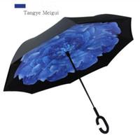 Poignée inverse Impression Embryage Fimbria Turnproof inverse Sunscreen Protection Parapluies Plongez Double Couche Inversée Divers Rains Dégain Sea Shipp Wmq974