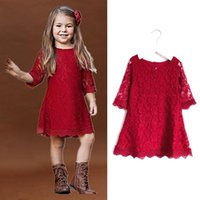 Girl's Dresses Girls Christmas Dress For Kids Princess Costume Spring Summer Red Clothes Children Birthday Party Lace Embroidery Tutu