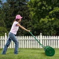 24in prato a rulli in ferro piene cilindrico push per utensili da giardino verde