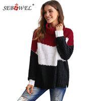 Женские свитеры Seowbowel Cowl Colorblock вязаный свитер для женщин осень зима женского женского пола с длинным рукавом свободные полосатые палеры пуловеры