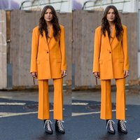 Fashion Orange Women Pants Suits Leisure Loose Two Button Blazer Suit Ladies Prom Party Wedding Wear Outfit (Jacket+Pants)