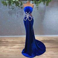 Women's Evening Dress Mermaid Royal Blue Beads Prom Party Dress Abiye Elbiseleri Vestido De Fiesta De Boda
