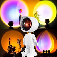USB Robot Rainbow Sunset Projector Atmosphere Led Night Light Room Study Bedside Background Wall Home Decoration Mini Table Lamp