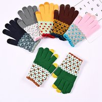 Women's Cashmere Knitted Winter Gloves embroidery Flower Women Autumn Winter Warm Thick Gloves Touch Screen Skiing Gloves