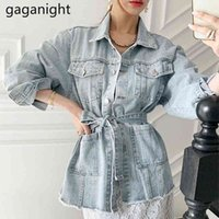 Molla Autunno Donne Jean Jacket Casual Turn-Down Collar Sashes Denim Coat Streetwear Solid Blue Jeans Top 210426