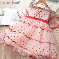 Humor Bear Summer Girl Dress Embroidered Kids Princess Dresses Children Middle Sleeve Cake Party Birthday Toddler Girl Clothing 210430