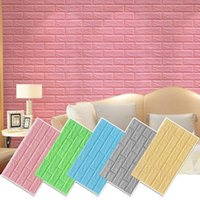 Wall Stickers 3D Three-Dimensional Brick Pattern Waterproof Sticker PE Foam Solid Color Anti-Collision Self-Adhesive Home Decoration