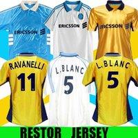 Retrô Marselha 1998-99 om futebol jerseys ravanelli pires blanc casa vintage fora camisas azul, branco, ouro kit clássico l.blanc s-xxl