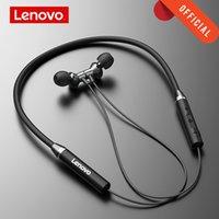 Lenovo HE05 이어폰 Bluetooth5.0 무선 헤드셋 마그네틱 넥 밴드 이어폰 IPX5 방수 스포츠 이어 버드와 소음 취소 마이크