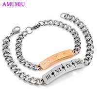 Roman Number ID Bracelet Punk Couple Bracelets Rose Gold Sliver Color Bangles For Women Men Stainless Steel Jewelry B070 Link, Chain