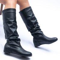 2021 fashionable drape model lady long boot is light and comfortable keep warm wedge heel bottom