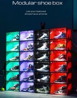 Sound control LED lights clearly new shoes sneakers color box storage antioxidant organizers wall collection show 5 colors are optional
