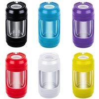 Colorful Portable LED Smoking Multi-function Dry Herb Tobacco Grind Spice Miller Grinder Crusher Grinding Storage Stash Case Jars Bottle Shape DHL Free