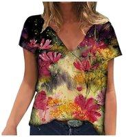 Women's T-Shirt Loose Floral Print Summer Casual Women Cloth Short Sleeve Tshirts Street Hipster Tee Shirts V Neck Tops Femme T Shirt 2021