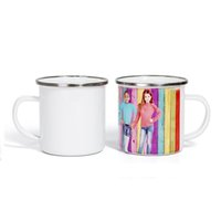 12 oz Sublimation Blank Enamel Coffee Mugs Portable Tumblers With handle Stainless Steel Water Cup Q163