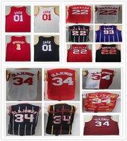 Vintage Mode Männer Tracy 1 McGrady Trikots Rot Weiß Schwarz Clyde 22 Drexler Hakeem 34 Olajuwon 01 Jack Basketball College Hemden