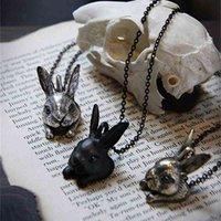 الهيب هوب نمط كبير رئيس الأرنب قلادة الرجعية هير قلادة لطيف الفتيات هدية فكرة مجوهرات - 12pcs / lot 3 ألوان الخيار