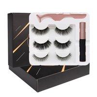 Wholesale Upgraded 3 Pairs Magnetic Eyelashes Kit Eyeliner Tweezer Reusable Natural Thick False Lashes Easy to Wear