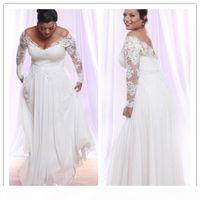 Plus Size Lace Chiffon Beach Wedding Dresses 2020 Long Sleeves Off Shoulder Floor Length Elegant Bridal Gownse Custom Made Vestidos De Noiva