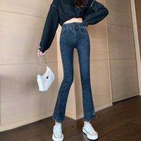 Jeans da donna Icclek Jxmyy High Waist Autunno Wear 2021 Pantaloni svasati Slim Tall Temperamento di moda Pantaloni diviso Trend Doppia