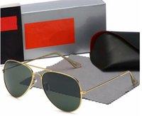 Hochwertige Ray Männer Frauen Sonnenbrille Vintage Pilot Aviator Wayfarer Marke Sonnenbrille Band UV400 Bans Ben mit Kasten und Fall 3025 2140 RBR