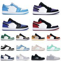 حذاء رياضي نايك اير جوردان 1 منخفض لكرة السلة unc 1s للرجال والنساء أسود تو باين أخضر حذاء رياضي للرجال