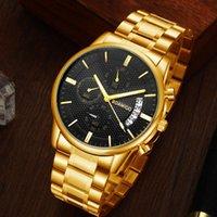 Наручные часы BOAMIGO Мужские Часы Хронограф Спортивные Мужские Часы Топ Водонепроницаемый Полный Стальной Кварцевый Золотой Часы Relogio Masculino