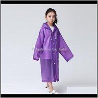 أطفال إيفا المعطف معطف المطر ملابس الأطفال ارتداء معاطف شفافة طويلة الأكمام مع قبعة للبنين الفتيات 12 ألوان C1964 QI68W والعتاد RZUCC