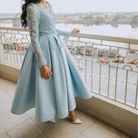Ankle Length A-Line Prom Dresses Lace Appliques Satin Formal Evening Gowns Girls Homecoming Dress Deep V-neck Special Occasion Wear