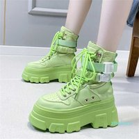 designer Green Punk Chunky Platform Motorcycle Boots Women Autumn Winter Gothic Shoes Woman Thick Bottom Lace Up Ankle