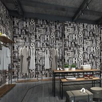 Wallpapers 3D Stereo Retro English Letters Industrial Style Wallpaper Pot Shop Decoration KTV Clothing Store Bar El