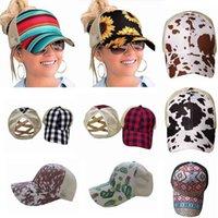 Yeni Ayçiçeği At Kuyruğu Beyzbol Şapkası 16 Stilleri Criss Çapraz Yıkanmış Pamuk Topu Kap Ekose Kaktüs Yüksek Dağınık Çörekler Şapka DDA551