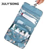 Июльская песня Многофункциональная мыть Оксфорд Складной косметический водонепроницаемый подвесной хранение Портативный организатор сумка 210322