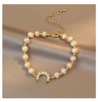 Charm Bracelets Korea Design Fashion Jewelry Natural Freshwater Pearl Bead Bracelet Zircon Moon Elegant Women Student Daily Accessories