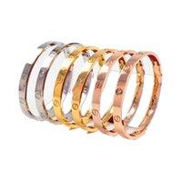 Mode Frauen Schnalle Gravur Armreif 18k Rose Gold Titaniumstahl Diamant Ewigkeit Armbänder verblassen No Kiste