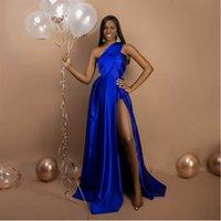 Elegant Royal Blue Long Prom Dresses One Shoulder Pleat Satin Black Women Party Dress With Slit Sexy Formal Gown Plus Size