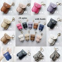 Party Favor PU Leather Sanitizer Keychain Bag With 30ML Leopard Hand Soap Bottle Holder Key Ring Pendants Cover YYA437 60pcs M47D