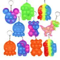 Mini Push Bubble Pops Sensory Fidget Giocattoli Keychain Semplice Dimple Squishy Anti Stress Stress Reviever per Adult Kids Popote Fidgets Giocattolo