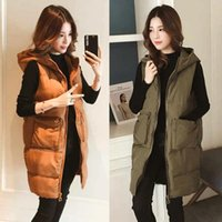 Women's Vests Casual Women Warm Winter Vest Jacket Hooded Mid-Length All-Match Thicken Waistcoat Plus Size Sleeveless Cotton Outerwear Cloth