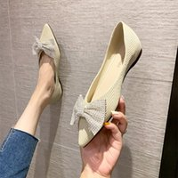 Pointed women's shoes autumn bow fairy style flat bottomed women's shoes soft bottom comfortable shallow mouth single shoe