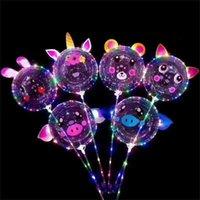 Sopa ile LED Bobo Topu Aydınlık Balon Karikatür Hayvan Yüz Sticker Parti Balonları Gece Işık Topu Renkli Lamba Işıkları Parti Düğün Festivel G585oky