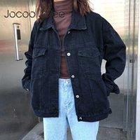 Jocoo jolee women negro denim jeckets vintage jean abrigo coreano harajuku suelta chaquetas ocasional salvaje bf estilo de abrigo Outwear 210619