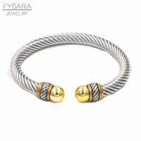 Diseñador imitación fysara manguito cable perla alambre marca vintage joyería joyería brazaletes mujeres pulseras