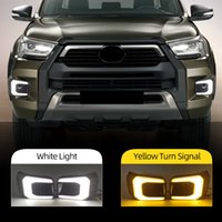 2PCS Auto LED Daytime Running Light For Toyota Hilux Rocco 2020 2021 Dynamic Turn Yellow Signal DRL Day Light Fog lamp