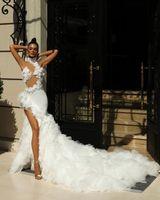 Halter White Mermaid Wedding Dress Tiered Ruffles Split Lace Appliques Robe De Mariee Custom Made Sleeveless Floor Length Bride Gown