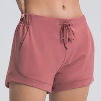 L- 04 Nova Cor Yoga Calças Curtas Calças Cinchable Drawcord Womens Running Shorts Senhoras Casual Yoga Outfits Sportswear Meninas Exercício Fitness Wear