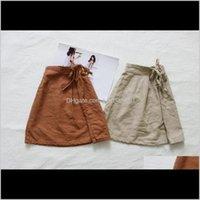 Fm coreano autunno in design di cotone lino cinturini in lino bella gonna a vita alta elastica estate cdsfb ztvil