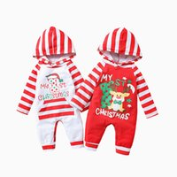 kids Rompers girls boys Christmas hooded romper infant toddler Striped letter print Jumpsuits Spring Autumn fashion Boutique baby Xmas Clothes Z4447