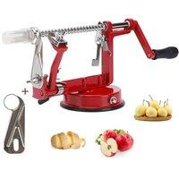 Waco Apple Pereers, 3-w-1 nóż kuchenny ze stali nierdzewnej, trwały obieracz Correr z przyssawką, do narzędzi do obierania jabłek / gruszki / ziemniaczanej, aby zrobić sos owocowy (czerwony)